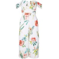 White Floral Print Bardot Neck Culotte Jumpsuit New Look