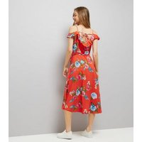 Red Floral Print Frill Trim Wrap Front Midi Dress New Look