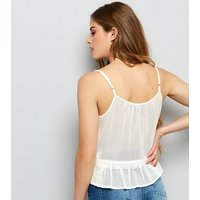 White Floral Embroidered Peplum Hem Cami Top New Look