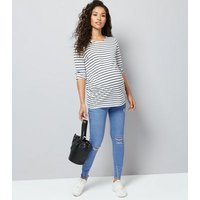 Maternity Blue Over Bump Ripped Skinny Jeans New Look