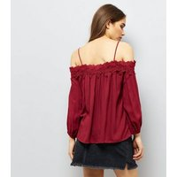 Red Crochet Lace Trim Cold Shoulder Top New Look