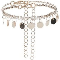 2 Pack Rose Gold Coin and Diamante Anklets New Look