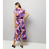 Purple Floral Print Wrap Front Culotte Jumpsuit New Look