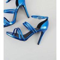 Wide Fit Blue Metallic Ankle Strap Heels New Look