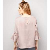 Cameo Rose Pink Crochet Lace Trim Top New Look