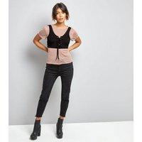 Innocence Shell Pink Mesh 2 in 1 Corset Top New Look