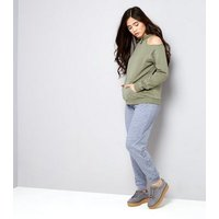 Teens Grey Lace Up Hem Joggers New Look