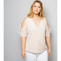 Curves Shell Pink Cold Shoulder Top New Look