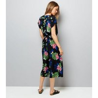 Black Floral Print Tie Waist Jumpsuit New Look