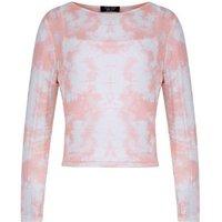 Teens Pink Tie Dye Mesh Top New Look