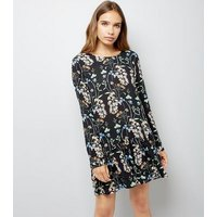Blue Vanilla Black Floral Print Playsuit New Look