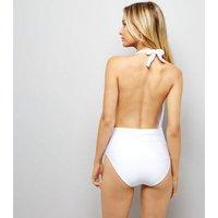 White Metal Ladder Trim Plunge Swimsuit New Look