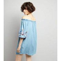 Blue Floral Embroidered Bardot Neck Dress New Look