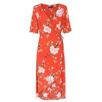 Red Floral Wrap Front Dip Hem Dress New Look