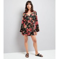 Black Floral Print Wrap Front Flared Sleeve Playsuit New Look