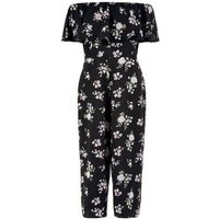Black Floral Print Bardot Neck Jumpsuit New Look