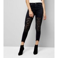 Black Ripped Lace Patch Skinny Jeans New Look