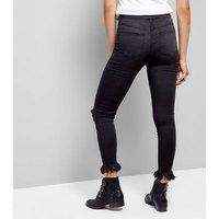 Parisian Charcoal Ripped Frill Hem Jeans New Look