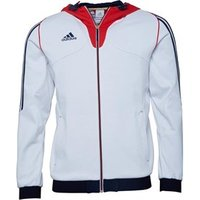 adidas Mens 3 Stripe Full Zip Hooded Top White/Navy/Red