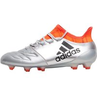adidas Mens X 16.1 FG Leather Football Boots Silver Metallic/Core Black/Solar Red