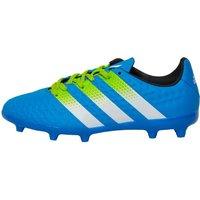 adidas Junior ACE 16.3 FG/AG Football Boots Shock Blue/Semi Solar Slime/White