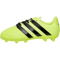 adidas Junior ACE 16.3 FG Leather Football Boots Solar Yellow/Core Black/Silver Metallic
