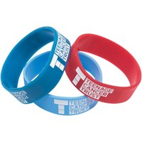 Teenage Cancer Trust Silicone Wristband Pack Of 3 Red/Blue/Pale Blue