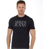 Armani Jeans Mens Writing Print Cotton T-Shirt Dark Blue