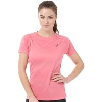 Asics Womens Stripe Performance Running Top Camelion Rose Heather