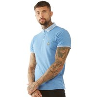 Brave Soul Mens Glover Polo Sky Blue Marl/Optic White