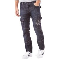Crosshatch Mens New Cargo 16 Jeans Dark Wash