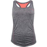 ELLE SPORT Womens Ruched Marl Performance Support Vest Coal Marl/ Coral Reef