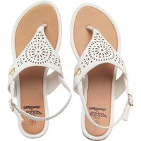 Board Angels Womens Punch Detail Y Front Sandals White