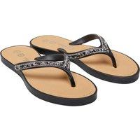 Ribbon Womens Diamante Trim Toe Post Sandals Black