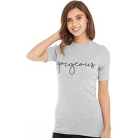 Jacqueline De Yong Womens Dominique Print T-Shirt Light Grey Melange