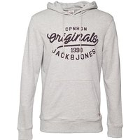 JACK AND JONES Mens Finish Hoody Light Grey Melange