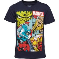 Boys Heroes Grid Marvel T-Shirt Navy