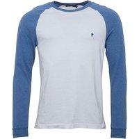 French Connection Mens Long Sleeve Raglan T-Shirt White/Blue Melange