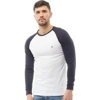 French Connection Mens Long Sleeve Raglan T-Shirt White/Marine