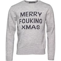 French Connection Mens Merry FCUKin Xmas Knit Light Grey Marl