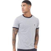 French Connection Mens FCUK Ringer T-Shirt Light Grey Melange