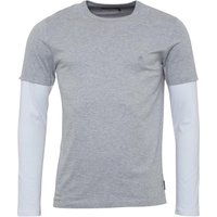 French Connection Mens Bluff Long Sleeve T-Shirt Light Grey Melange/White