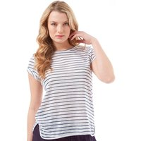 Onfire Womens Striped Slub Short Sleeved Top Navy/White