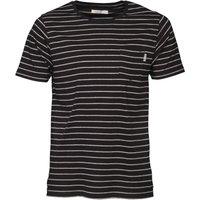 Onfire Mens Yarn Dyed Striped T-Shirt Black/Grey Marl