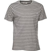 Onfire Mens Yarn Dyed Striped T-Shirt Grey Marl/Black