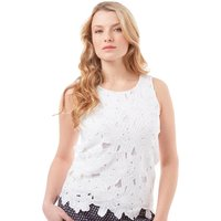 Onfire Womens Floral Lace Sleeveless Top White
