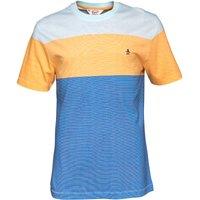 Original Penguin Mens Colour Block Stripe T-Shirt Crystal Blue