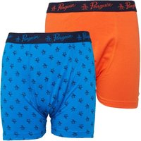Original Penguin Junior Boys Two Pack Boxer Shorts Blue/Orange