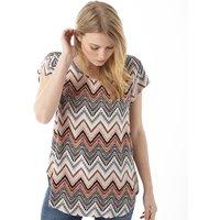 Only Womens Nova Urban Zig Zag T-Shirt Peyote
