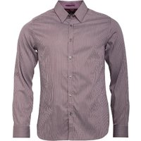 Ted Baker Mens Vertical Long Sleeve Satin Stripe Shirt Brown